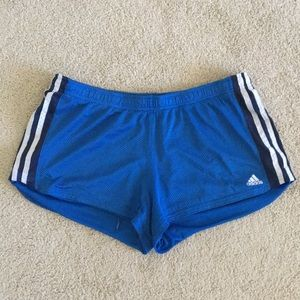 L Adidas Blue Shorts with White/Blue Stripes